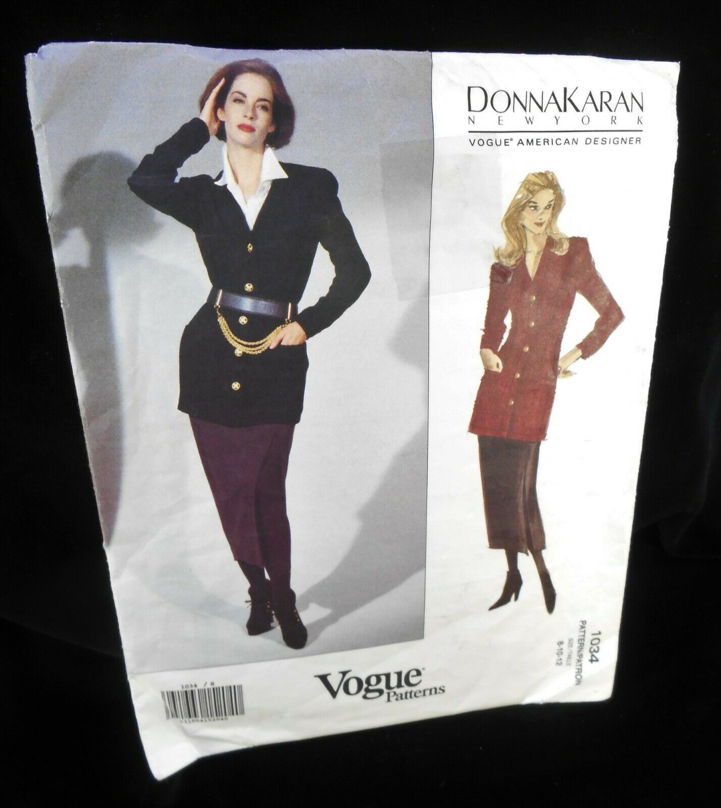 Vogue 1034 Womens 8-12 Skirt Jacket Semi fitted  below hip Donna Karan Uncut