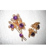 NWOT AMETHYST CRYSTAL TRIPLE FLOWER PIN/CLIP ON EARRING SET W/ FILIGREE ... - $12.99