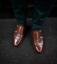 Handmade Men's Brown Double Monk Strap Dress/Formal Leather Shoes image 3