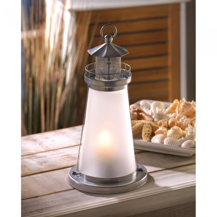 Lot 15 White Frosted Lighthouse Lantern Candleholder Table Decor Wedding Centerp image 2