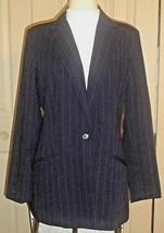 HW of NY navy-pinstripe tailored 1-button career blazer w/2 slash pocket... - $2.47