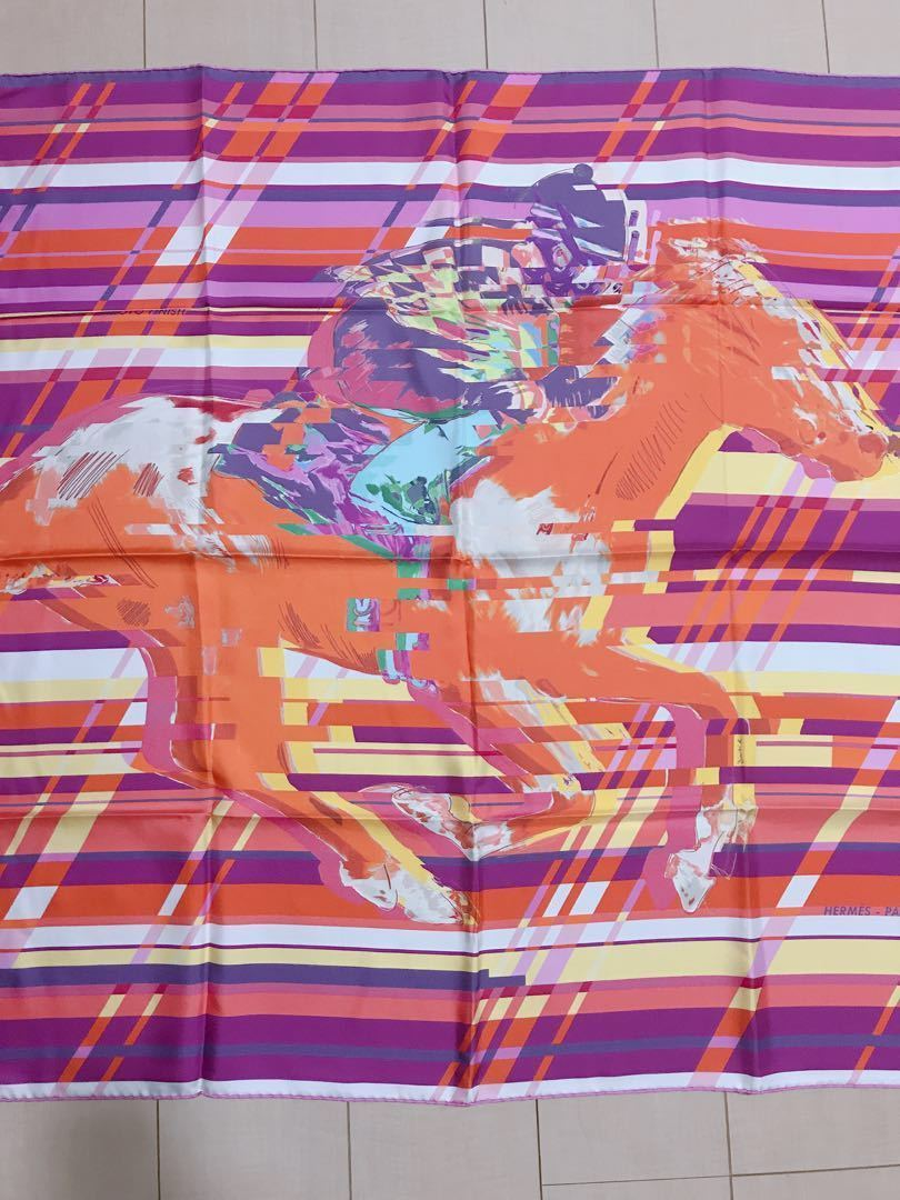 "Hermes Scarf Photo Finish 90 cm Silk Purple horse Carre Shawl Stole 35"""