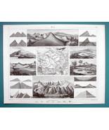 GEOLOGY Strata Dunes Cavities Fissures Mont Blanc - 1844 SUPERB Print En... - $7.27