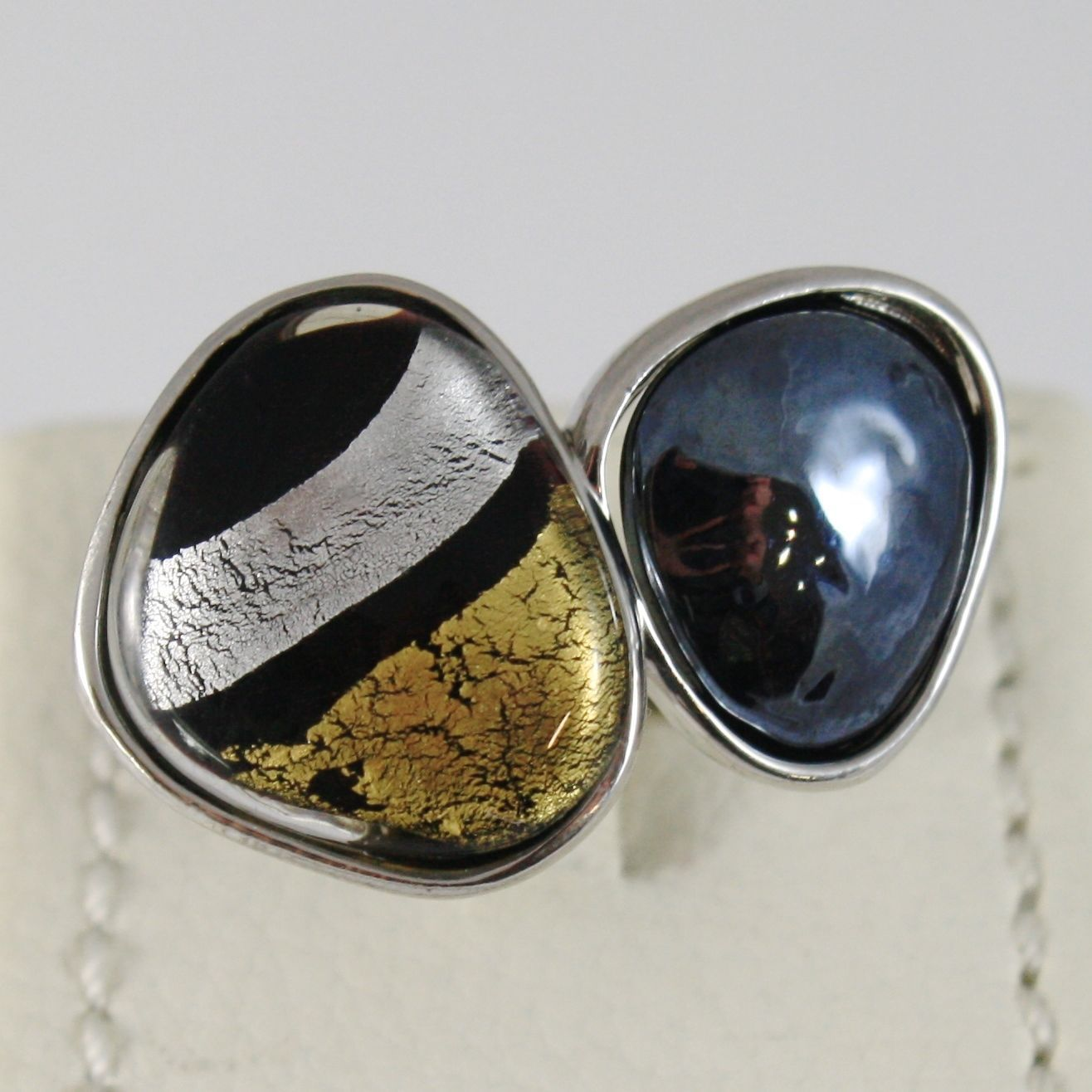 ANTICA MURRINA VENEZIA MORETTA RING WITH BLACK, SILVER AND GOLD DROPS, SIZABLE