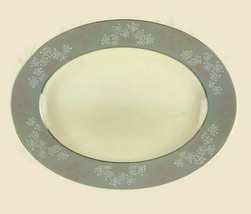 "Vintage Castleton China Gray Lace Pattern Oval Serving Platter 15"" Made ... - $74.76"