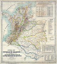 1933 Coffee Poster Map of Colombia Café Shop Kitchen Décor Gift Idea Wall Print - $13.00+