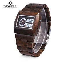 BEWELL ZS - W021A Dual Movt Men Watch  Wooden Case Date Day Display Wris... - $43.57