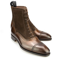 Handmade Men's Dark Brown Leather & Suede High Ankle Lace Up Boots image 1