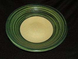 Pier 1 Bowl 14in x 14in x 4in Green/Cream Contemporary Earthenware - $26.35