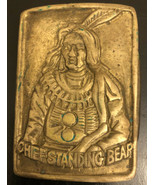 Vintage Solid Brass Chief Standing Bear Solid Buckle - $19.80