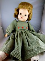 "Vintage Doll Hard Head Cloth Body Mohair Wig Sleep Eyes Teeth 20"" Rubber... - $69.29"