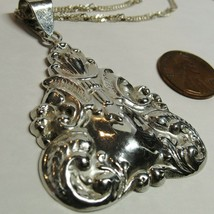 Sterling Silver Art Nouveau-STYLE BIG Pendant Twisted Curb Link Necklace... - $24.73