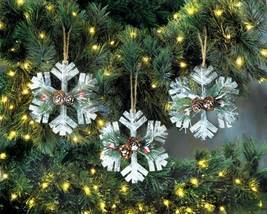 10018110 Christmas Collection Rustic Snowflake Ornament Set - $11.73