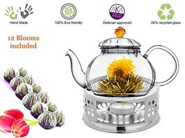 Glass Teapot with Tea Warmer Lead Free Special Glass No Drip by Tea Beyo... - $49.94