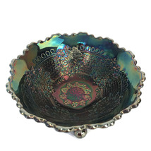 Vintage 70s Fenton Electric Amethyst Carnival Glass Leaf Chain 3 Footed Nut Bowl - $56.06
