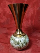 Delft Holland Hand Painted Bud Vase Pearlescent Blue W/ Brass Mid Century image 8