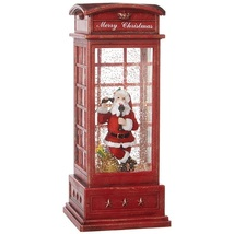 SANTA IN LIGHTED PHONE BOOTH WATER LANTERN - $49.98