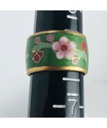 Cloisonne Chinese Enamel Ring Size 6 Wide Band Green Pink Daisy Floral Vine - $10.84