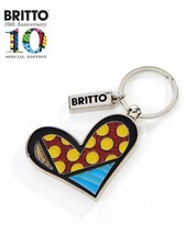 Romero Britto Heart Design 10th Anniversary Keychain with Metallic Gold Accents