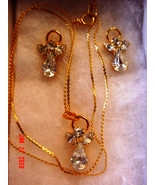 Angel Necklace & Earrings Set Clear Crystal/Glass - $4.00