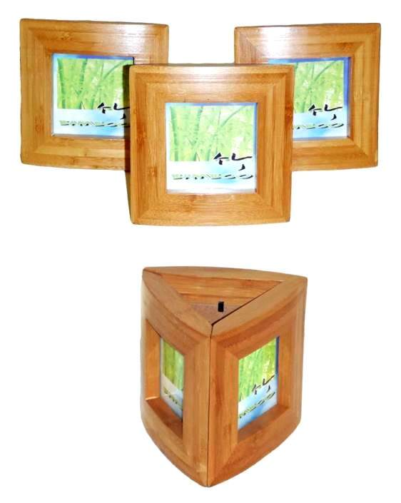 Primary image for Bamboo Picture/Photo Frame Trio-Triangle 3 Piece Set- Unique for Office Desk