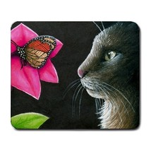 Mousepad from original art painting Cat 518 butterfly - $15.99