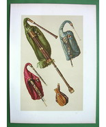 BAGPIPES Musical Instruments - SUPERB Color Litho Print - $42.08