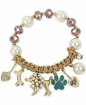 Betsey Johnson Poodle Dog & Beads Stretch Bracelet New in Box - $19.79