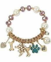 Betsey Johnson Poodle Dog & Beads Stretch Bracelet New in Box - $383,74 MXN