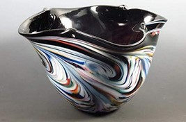 Hand Blown Glass Color Pinched Bowl Black Mix - $179.67