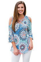 Blue Cold Shoulder Criss Cross Floral Blouse  - $18.86