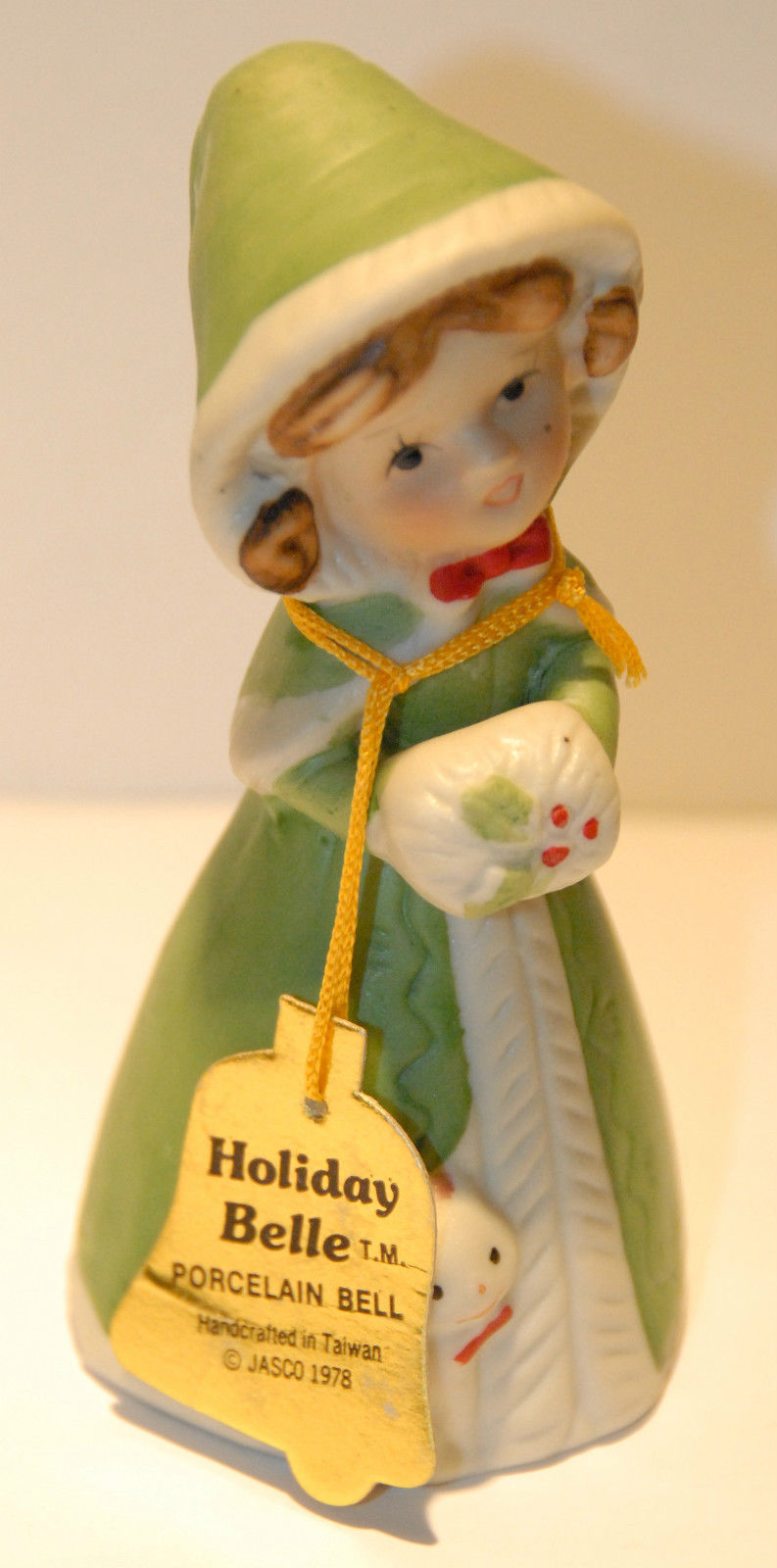 Vtg 1978 Jasco Figural Female With Cat Holiday Belle Porcelain Collectible Bell - $14.89