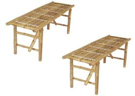 Bamboo Folding Bench- Set of 2- Sturdy and Eco-Friendly  - €103,69 EUR