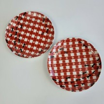"""Set of 2 Picnic by Pier 1 Appetizer Snack Plates Red White Plaid ANTS 6 1/2"""" d - $15.83"""