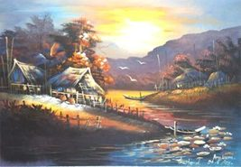 Asian Country Village Acrylic Landscape Paintings - $39.95