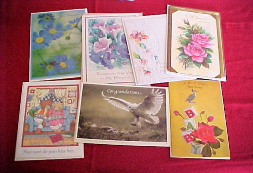 (7) ALL-OCCASION GREETING CARDS-NEW BABY;RETIREMENT;CONGRATULATIONS;SYMPATHY;FRI