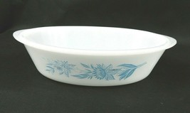 "Vintage Glasbake Oval Casserole White w-Blue Flowers Pebbled Bottom 6"" x 9"" - $10.88"