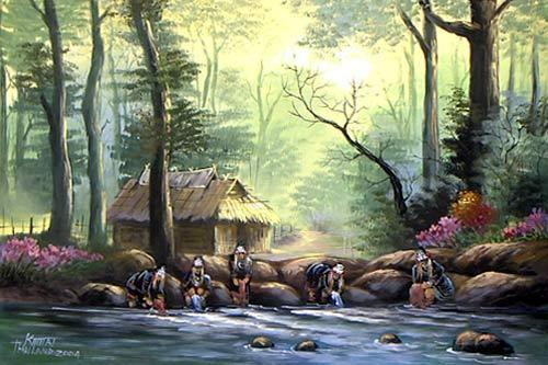 Akha Hill Tribe Oriental Paintings