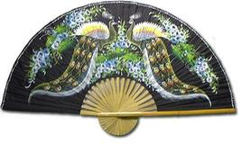 "40"" width Meeting of the Peacocks Chinese Wall Fans - $28.95"