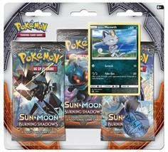 Pokemon Sun & Moon Burning Shadows 3-Pack Booster Blister Pack Meowth Promo - $17.99