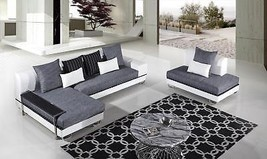 AE-L131R Modern 3Pcs Fabric Leather Match Sectional Sofa Left Chaise - $2,084.39