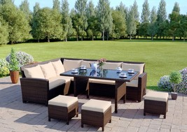 Luxury Rattan Dining Table Set Garden Corner Sofa Furniture & Cushion Da... - $988.51