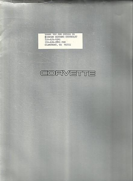 1993 Chevrolet CORVETTE sales brochure catalog 93 Chevy ZR-1