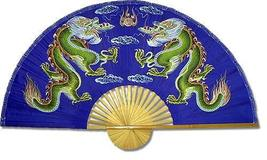 """40"""" width Blue Dragons Chinese Wall Fans - $28.95"""