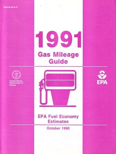 EPA 1991 Gas Mileage Guide vintage US brochure Fuel Economy