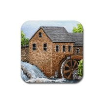 Rubber Coasters set of 4, art Landscape 361 watermill - $13.99