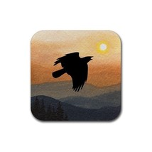 Rubber Coasters set of 4, art Landscape 364 crow raven - $13.99