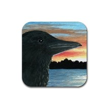 Rubber Coasters set of 4 from art painting Bird 30 crow - $13.99
