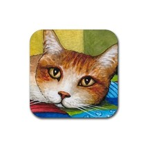 Rubber Coasters set of 4,  from art painting Cat 251 - $13.99