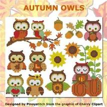 Autumn Owls cross stitch chart Pinoy Stitch - $11.70
